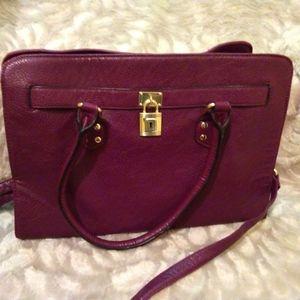 Maroon satchel/shoulder strap purse